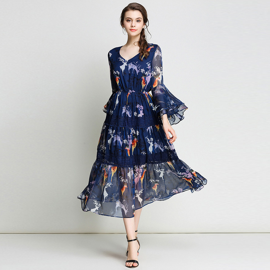 Fashion 2018 Spring Bohemian Butterfly Sleeve Print