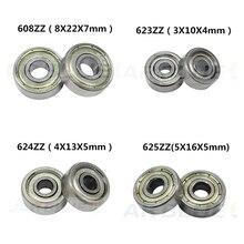 Free Shipping 10PCS Ball Bearing 608zz 623zz 624zz 625zz 635zz 626zz 688zz 3D Printers Parts Deep Groove Flanged Pulley Wheel