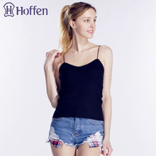 Hoffen Women Summer Elastic Slim Sleeveless Spaghetti Strap Vest Casual Camis Base Crochet Knit Tank Tops Roupas Femininas WS160
