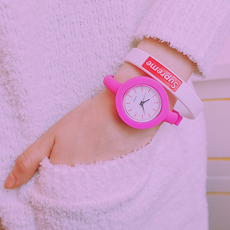 Fashion Cute Young Women Slim Simple Wristwatch Colourful Lovely Unique Silicone Sweet Girls Children Kids Quartz Watches Hours