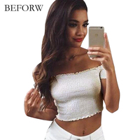 BEFORW Sexy Women Blouse One Word Collar Summer Beach Party Tube Blouses Wrinkled Exposed Navel White