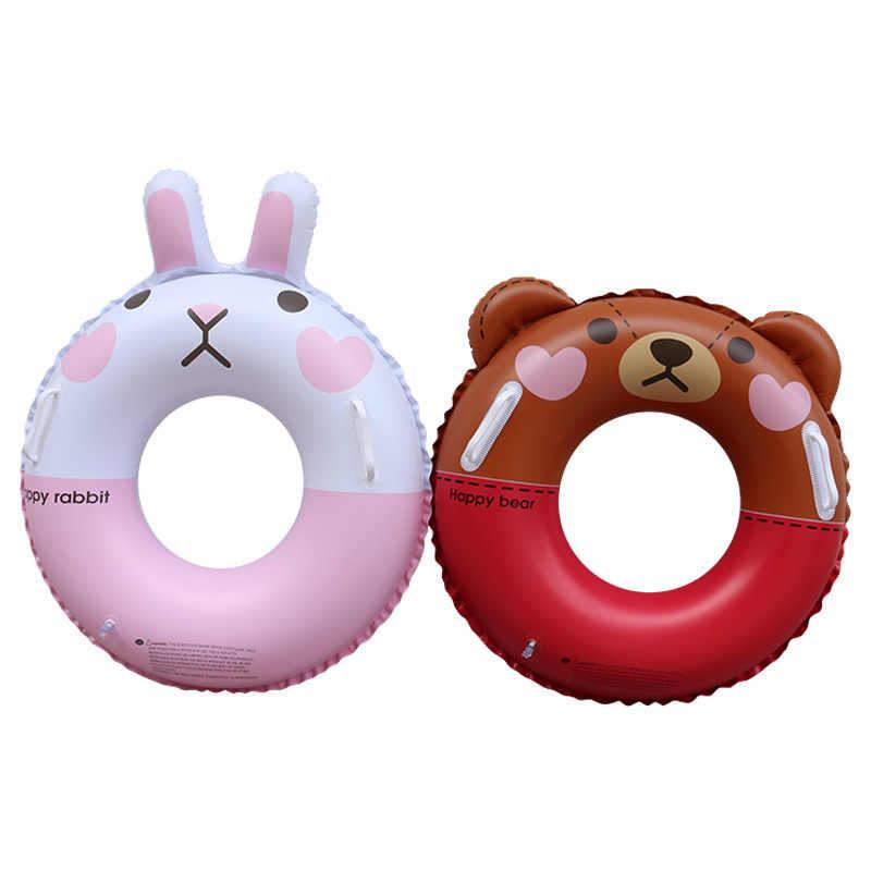 Alta Qualidade do Anel Inflável Natação para crianças Coelho Urso Feliz porco Pool Float Natação Círculo Anel Flutuante Natação Rodas