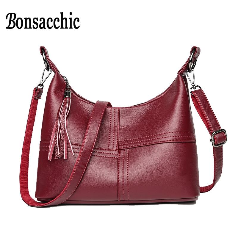 Bonsacchic Red Leather Bags Women's Small Handbags Luxury Handbags Women Bags Designer Ladies Hand Bags for Women 2018 bolsos