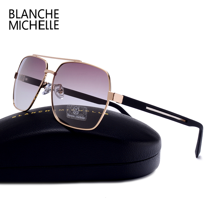 9268276a696 High Quality Square Sunglasses Men Polarized UV400 Fashion Sunglass Mirror Sport  sun glasses Oversized Driving Gold frame oculos-in Sunglasses from Apparel  ...