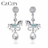CZCITY Marka CZ Konia w Kształcie Perły Biżuteria Kolczyki 925 Sterling Silver Części Pearl dla Spadek Kolczyki Ślubne dla Kobiet grzywny