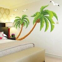 New High Quality XXL Size Beach Tall Palms Coconut Tree Waterproof Vinyl Stickers Living Room Kid