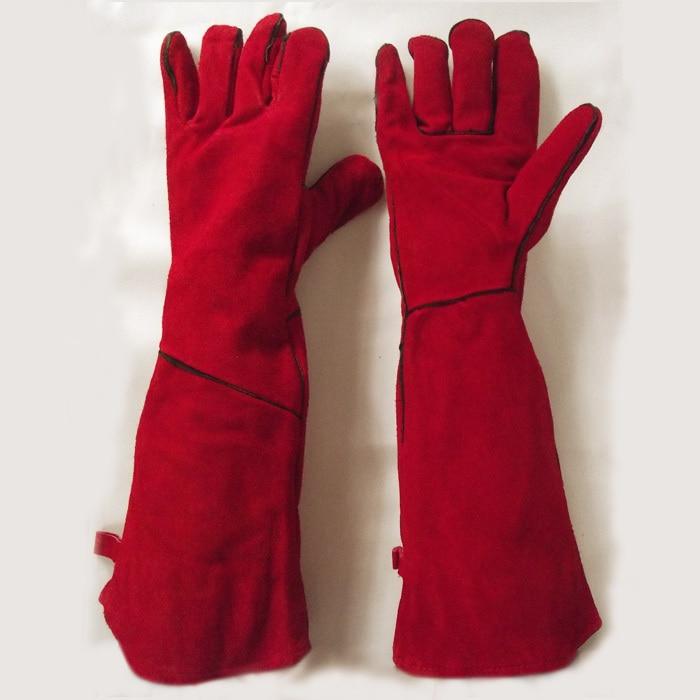 Super dlouhý rukáv 50-58cm svářečská bezpečnost práce chrání kožené rukavice plné podšívky kvalita pravá hovězí štípenka semiš zelená / červená