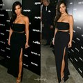 Sexy Kim Kardashian Dresses Black Two Piece Red Carpet Celebrity Dress Strapless High Side Slit Long Cheap Evening Gowns