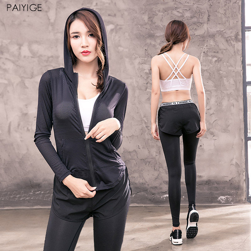 Women Sport Yoga 3pcs Sets for Running Gym Sportswear Sports Top Gym Push Up Bras Elastic Capris Fitness Tights Suits lefan 2018 sport suits 3pcs men elastic running fitness sets male training sportswear clothes set gym tracksuits tight leggings
