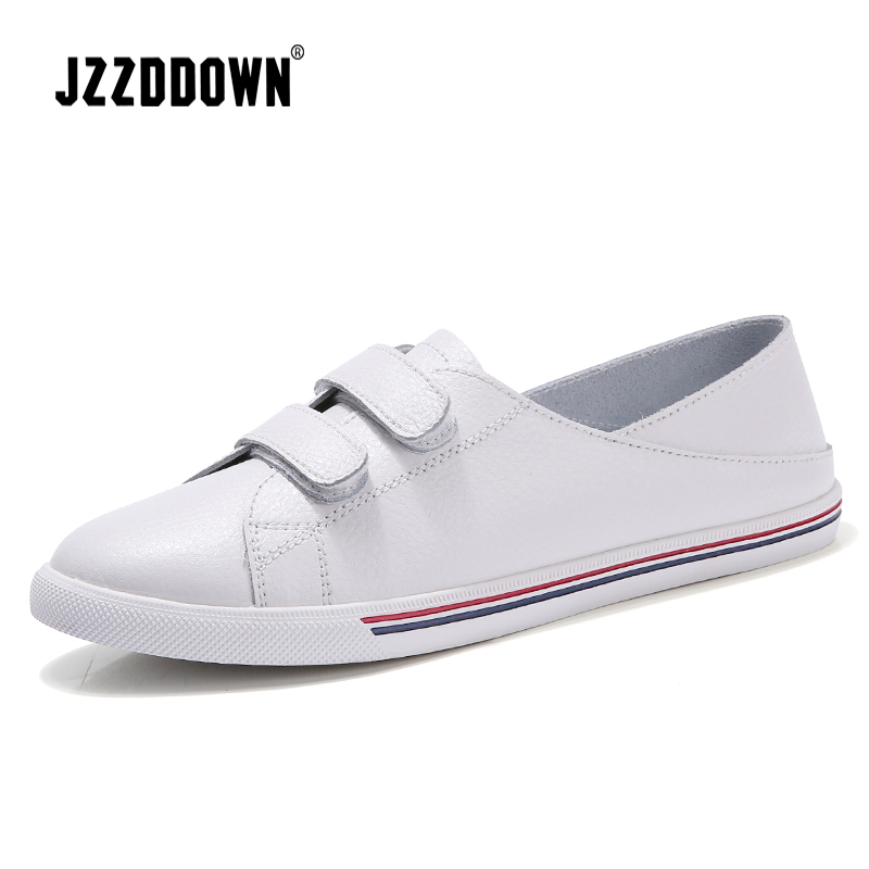 Women ballet flats shoes white sneakers 2018 Spring ladies Canvas Vulcanize casual Boat shoe Genuine   leather   slip on loafers