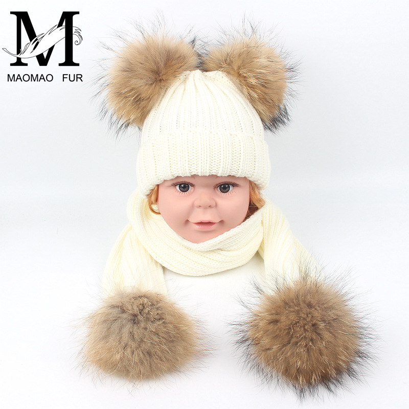 Kids Fur Scarf and Hat Set Winter Warm Thick Stretchy Knitted Beanie Boys Girls Real Double Fur Pom Pom Hat and Scarf Set fashion wool knit baby hat scarf set with fox fur balls autumn winter children hat scarf kids caps for girls boys warm hats set