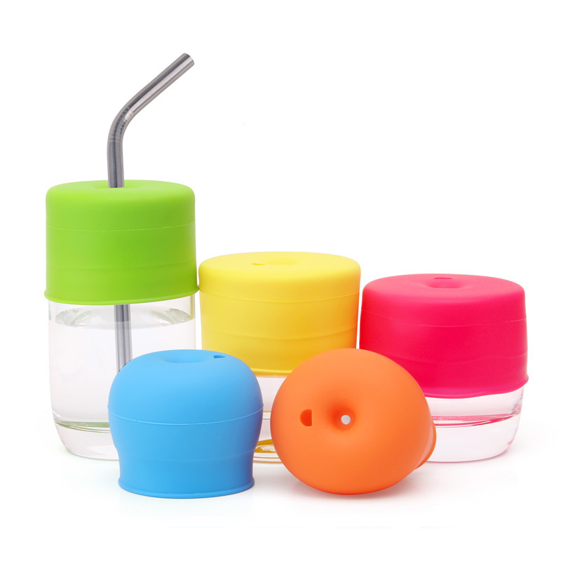 Universal Silicone Spill-Proof Sippy Cup Straw Lids Glassware lid Kitchen supplies cup accessories for Babies Toddlers and kids