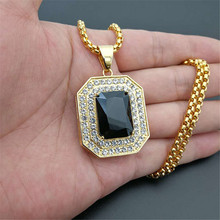 Iced Out Square Black Crystal Pendant Necklace For Men/Women Bling Rhinestone Hip hop Jewelry With Box Chain Drop Shipping недорого