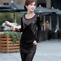 Mujer Camiseta Más El Tamaño 5XL Moda Negro Blusa Tops Tees Nueva Estilo Del resorte Del Otoño camisetas básicas Delgadas de diamante mujeres de la camiseta blusas