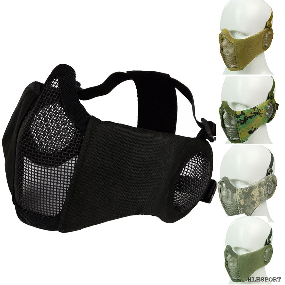 Tactical Airsoft Mask Steel Mesh Mask Ear Protection Impact Resistance 800FPS