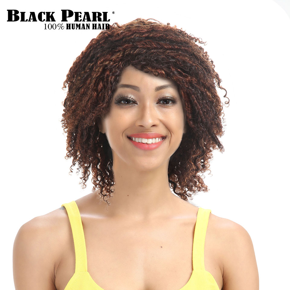 Black Pearl Short Curly Brown Wigs For Black Women Afro
