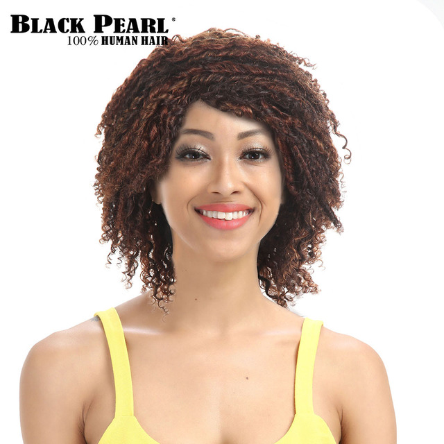 Black Pearl Short Curly Brown Wigs For Black Women Afro Kinky Curly