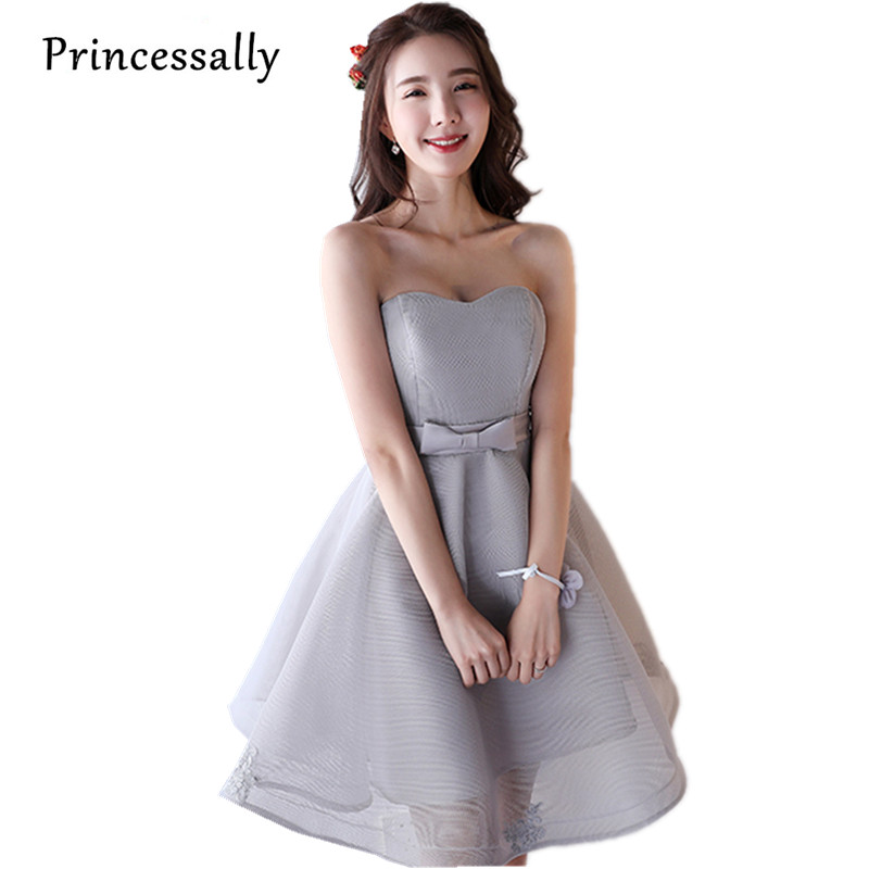 2017 New Short Grey Evening Dresses Elegant Organza Swwetheart A-line Cheap Party Gowns Prom Dresses Under 50 Vestido De Noiva