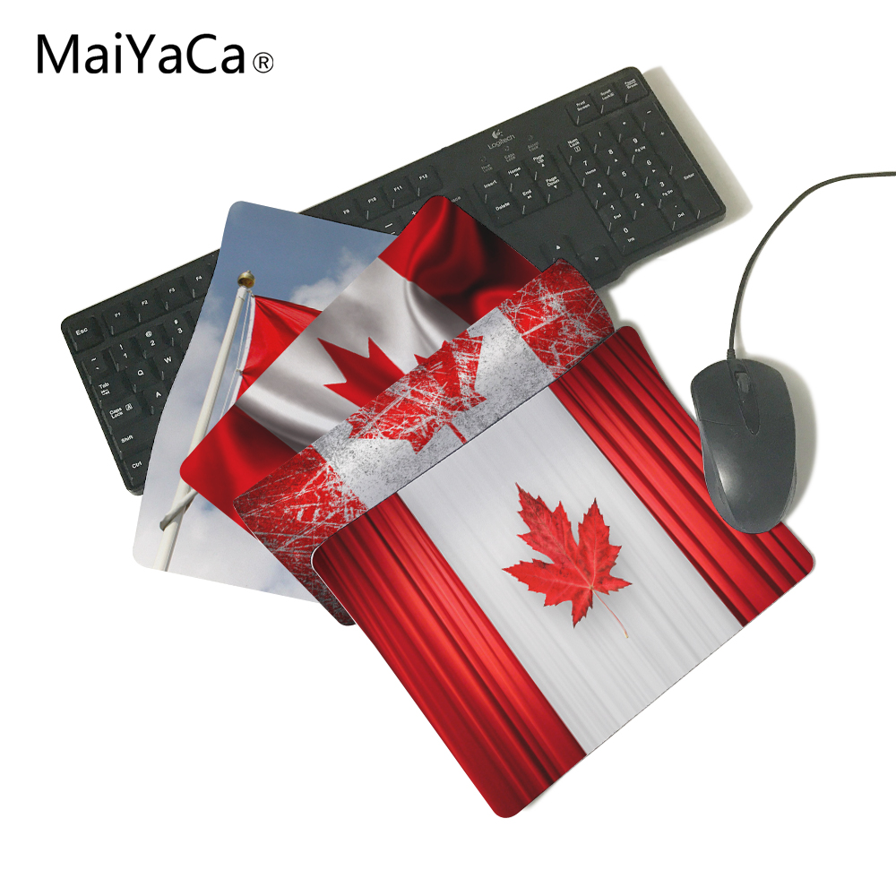 Canada Flag Curtains Anti-Slip Rectangle Mouse Pad Customized Supported 220mmx180mmx2mm