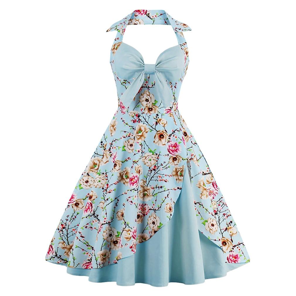 2017 neue Sommerkleid Frauen Halfter Patchwork Vintage Kleid Plus ...