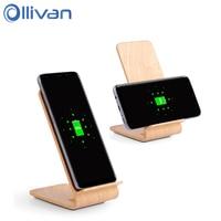 OLLIVAN Wood Qi Wireless Charger Dock Wooden Quick Wireless Charger Charging Stand For Samsung Galaxy S8