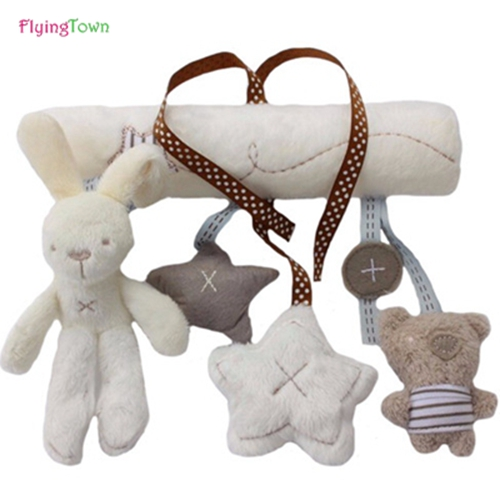 new Cute Rabbit baby music hanging bed safety seat plush toy Hand Bell Multifunctional Plush Toy Stroller Mobile Gifts