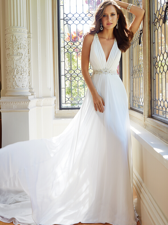 Vnaix Wv021 Simple But Elegant Formal A Line V Neck See Through Beaded Back Long Chiffon Crystal Beach Wedding Dresses 2016 In From Weddings
