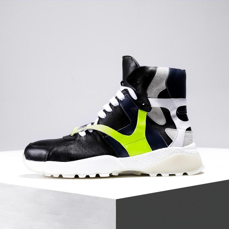 Deporte Calidad De Ocio blanco Los Zapatillas Transpirable Hombre Cowhid Zapatos Botas Casuales Cuero Genuino Negro Hombres Alta qRxzO6tx
