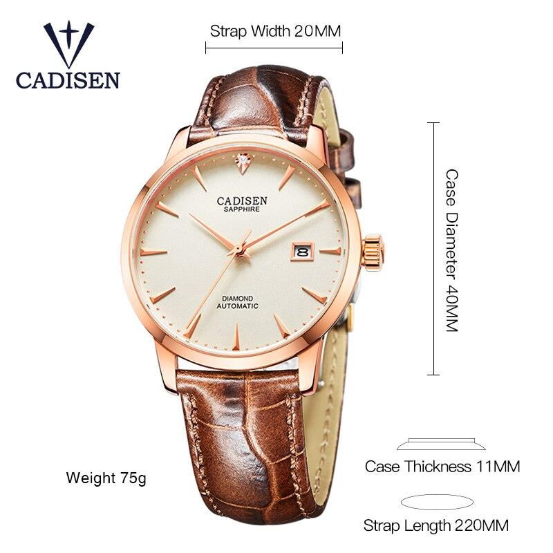 174413aaed8 Homens Relógio CADISEN 2018 Hot Relógio de Pulso Famosa Marca De Luxo  Masculino Relógio Relogio masculino Relógio Automático Relógio de diamantes  Reais em ...