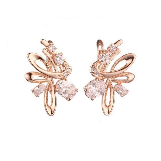Moda biżuteria kobiety 585 różowe złoto kolor biała cyrkonia typu kostka kamień wiszące kolczyki z motywem kwiatowym