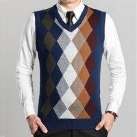2017 Fashion Design Sleeveless Male Cashmere V Neck Sweater Vest Men Knitted Waistcoat Argyle Pattern