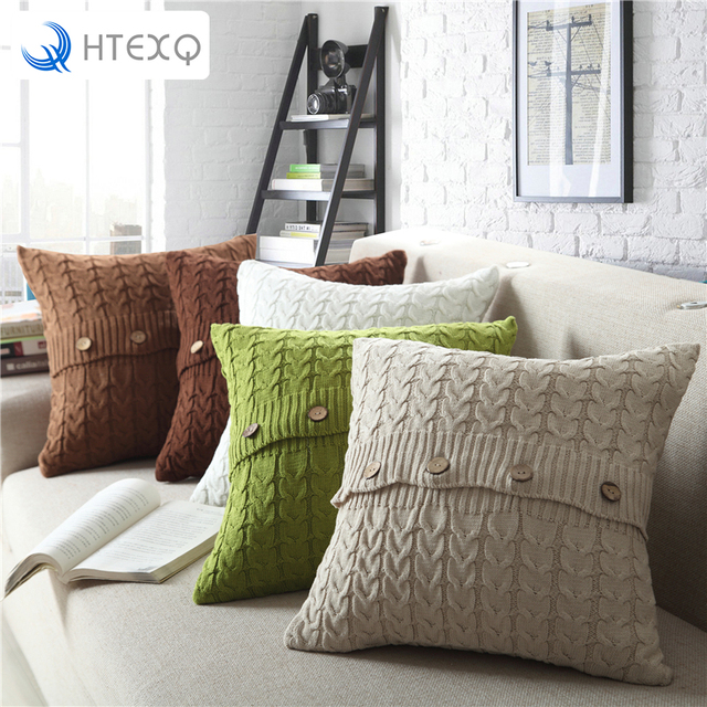 Tech Cotton Removable Knitted Decorative Pillow Case Cushion Cover