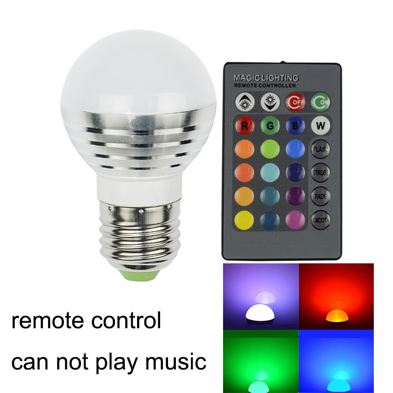 Lâmpadas Led e Tubos controle Tipo3 : E27 Wireless Bluetooth 3.0 Lamp Bulb Speaker Remote Control Rgbw Led