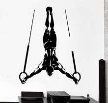 HWHD fashion sport home Wall Sticker Sport Muscle Man Gymnastic Rings Vinyl Decal free shipping