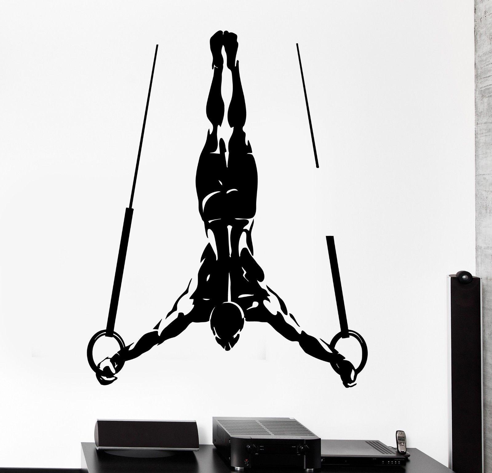 HWHD 패션 스포츠 홈 벽 스티커 스포츠 근육 남자 체조 링 비닐 데칼 무료 배송