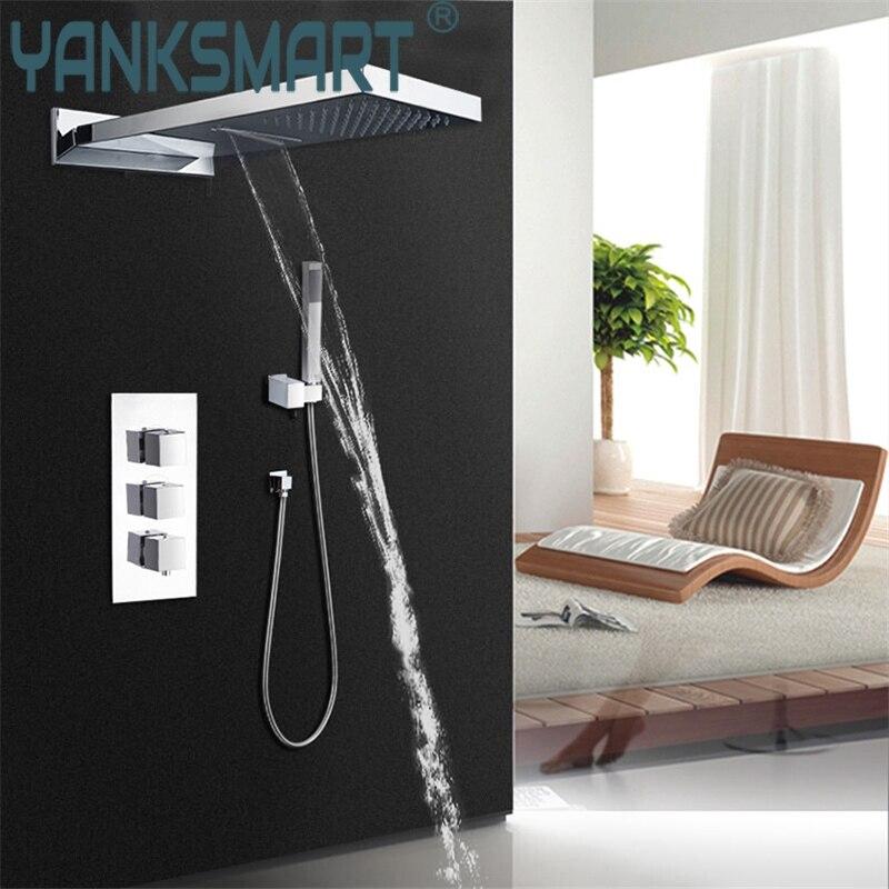 bathroom tow shower way shower faucet set bar shape rainfall shower head and three control valve