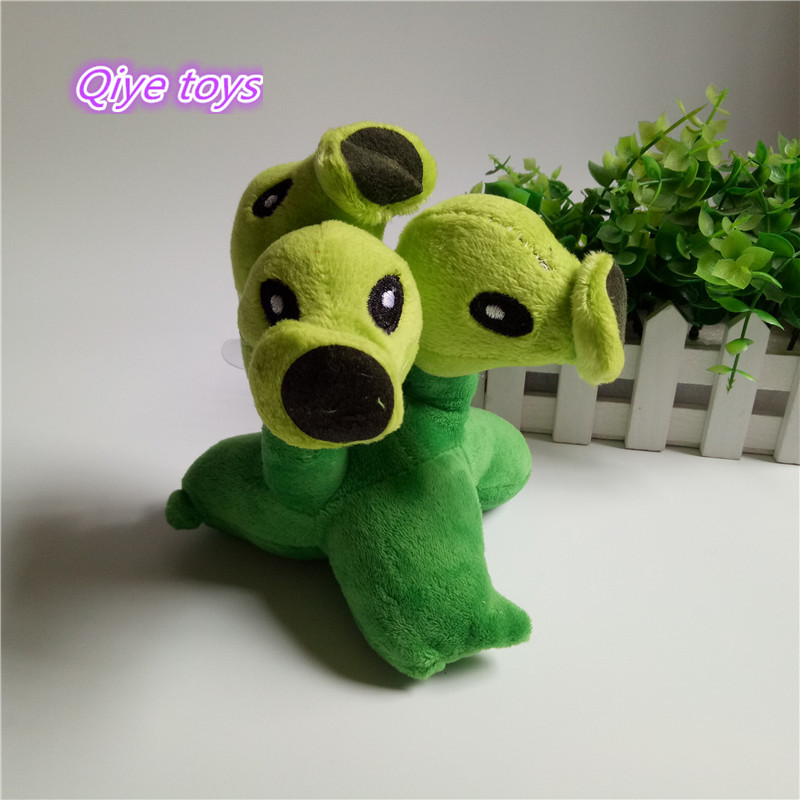 14cm Plants Vs Zombies Figures Plush Stuffed Toys Doll Three head Pea  Shooter Plush toy Peashooter Stuffed toys