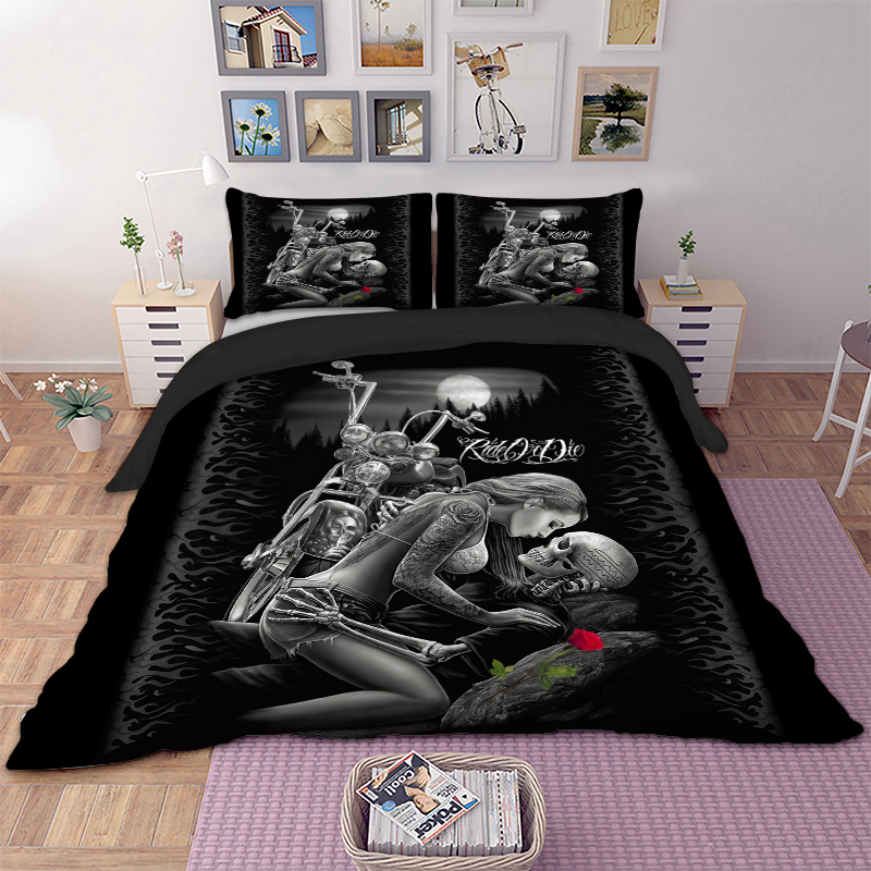 Bedding-Set Duvet-Cover Skull Queen 3D Beauty-Kiss Twin Single Polyester Rose title=