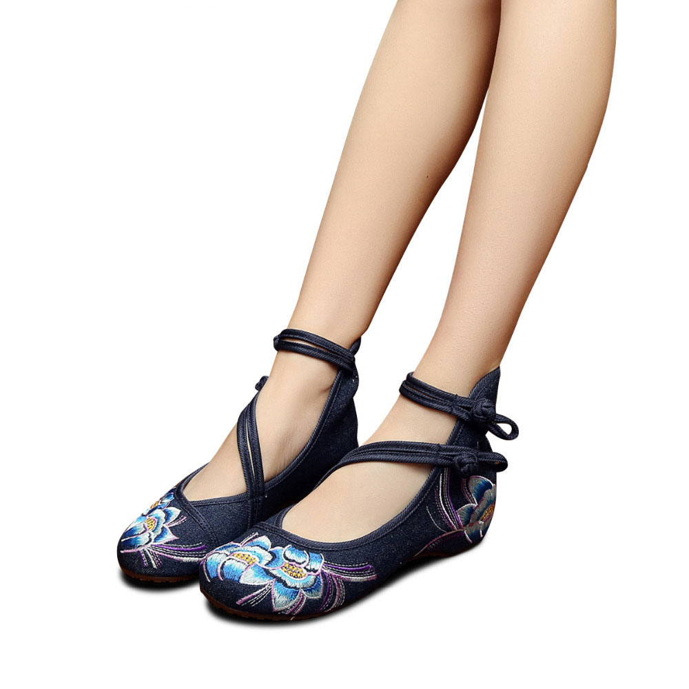 Image 2 - Veowalk zapatos de Ballet informales para mujer con flores bordadas a mano, zapatos de algodón de mezclilla suave para mujer con correa en el tobilloballet flatscotton shoesankle strap -