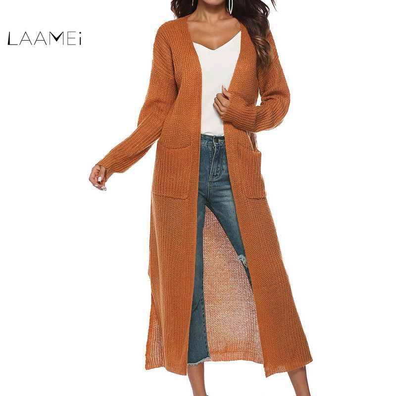 Laamei New European Women Autumn Split Slim Cardigan Long Sleeve Loose Asymmetric Batwing Pocket Thicken Cardigan Women Sweaters