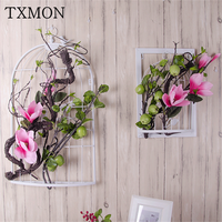 Simulation wall hanging flower birdcage wedding scene layout props home garden background decoration silk flowers floral