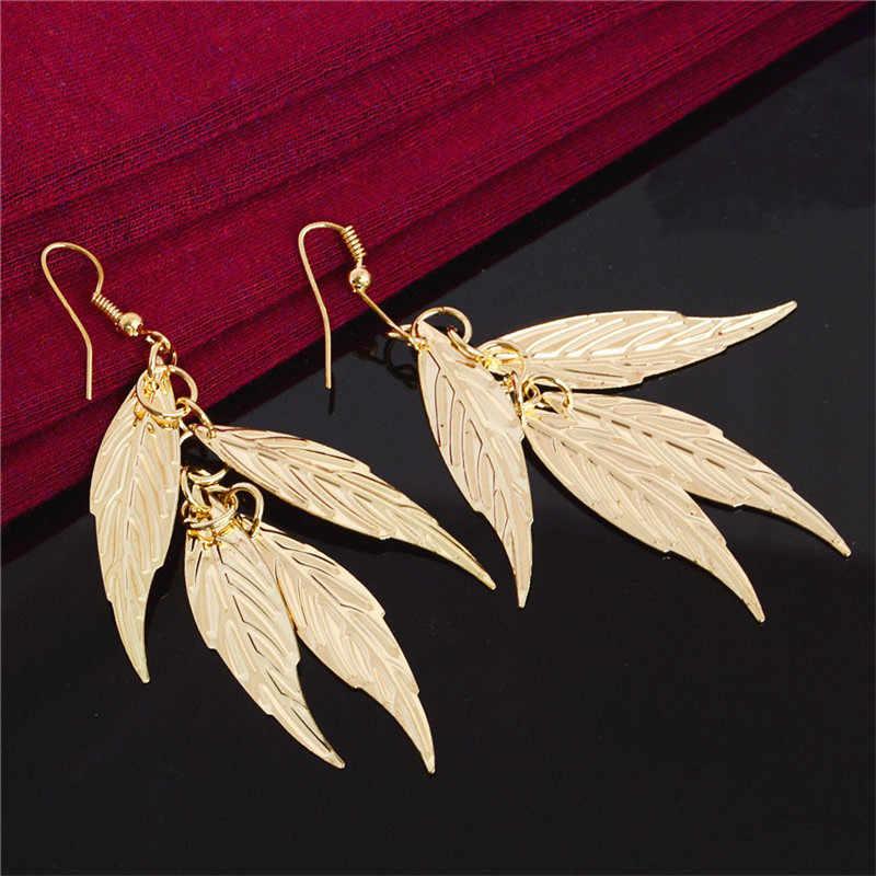 QCOOLJLY 新着ロングイヤリング Pendientes Mujer ジュエリー葉ブラブライヤリング女性ゴールドカラービジューファッション
