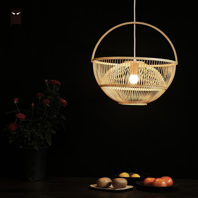 42cm Bamboo Wicker Rattan Basket Lampshade Pendant Lighting Rustic Country Asian Artistic Light E27 Hanging Lamps for Kitchen image