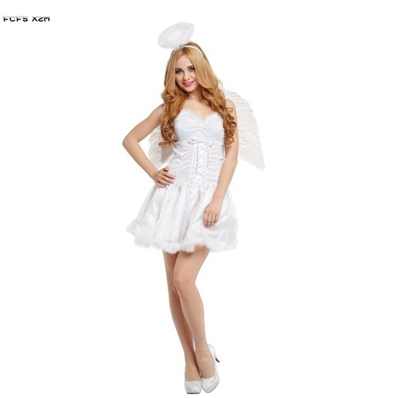 White Halloween Angel costumes for Women Girls Cosplays Carnival Purim Stage play Masquerade masked ball Nightclub party dress