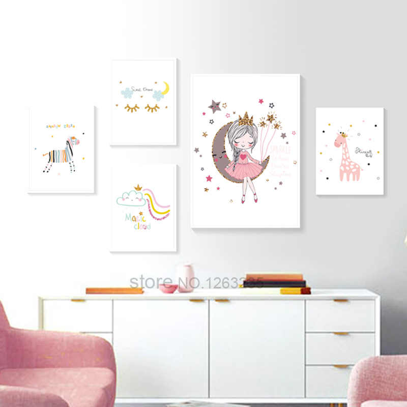 Princess Baby Room Cuadros Wall Art Nordic Poster Nursery Picture For Children Room Cartoon Canvas Painting Baby Room Unframed