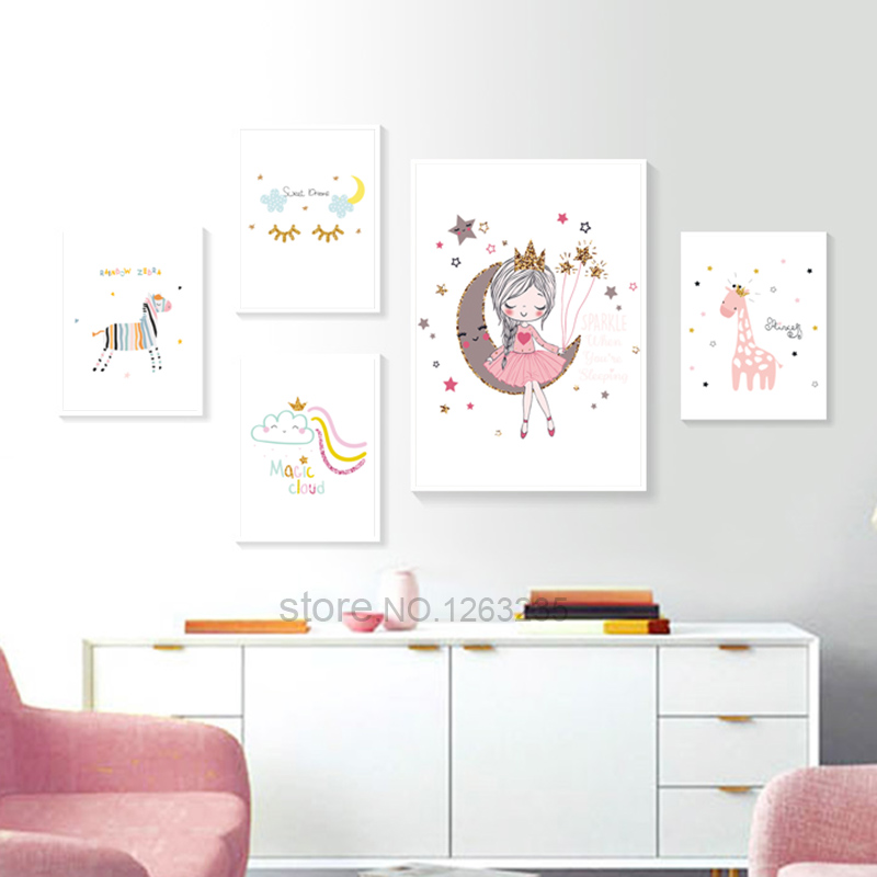 Princess Deer Nordic Poster Nursery Wall Painting Children Room Cartoon Wall Art  Canvas Painting Wall Pictures Baby Girl Room