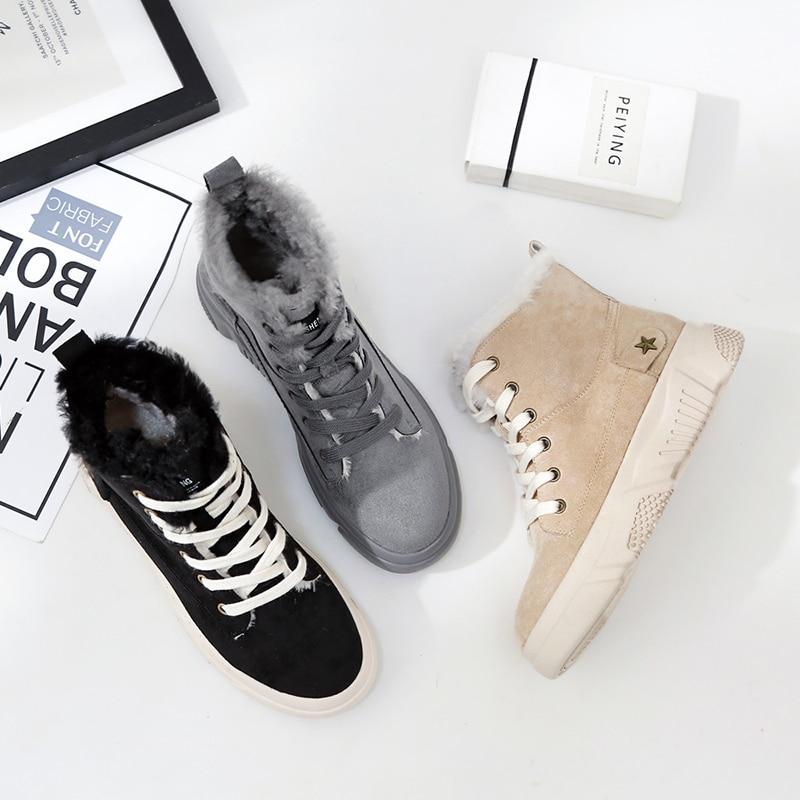 Antideslizante Invierno De Deporte negro Zapatos Womne Caliente La gris Sólido Beige Botas Plana Algodón 2018 Para Nuevo Encaje No zapatillas Nieve Y Martin 8qSx4TnXz