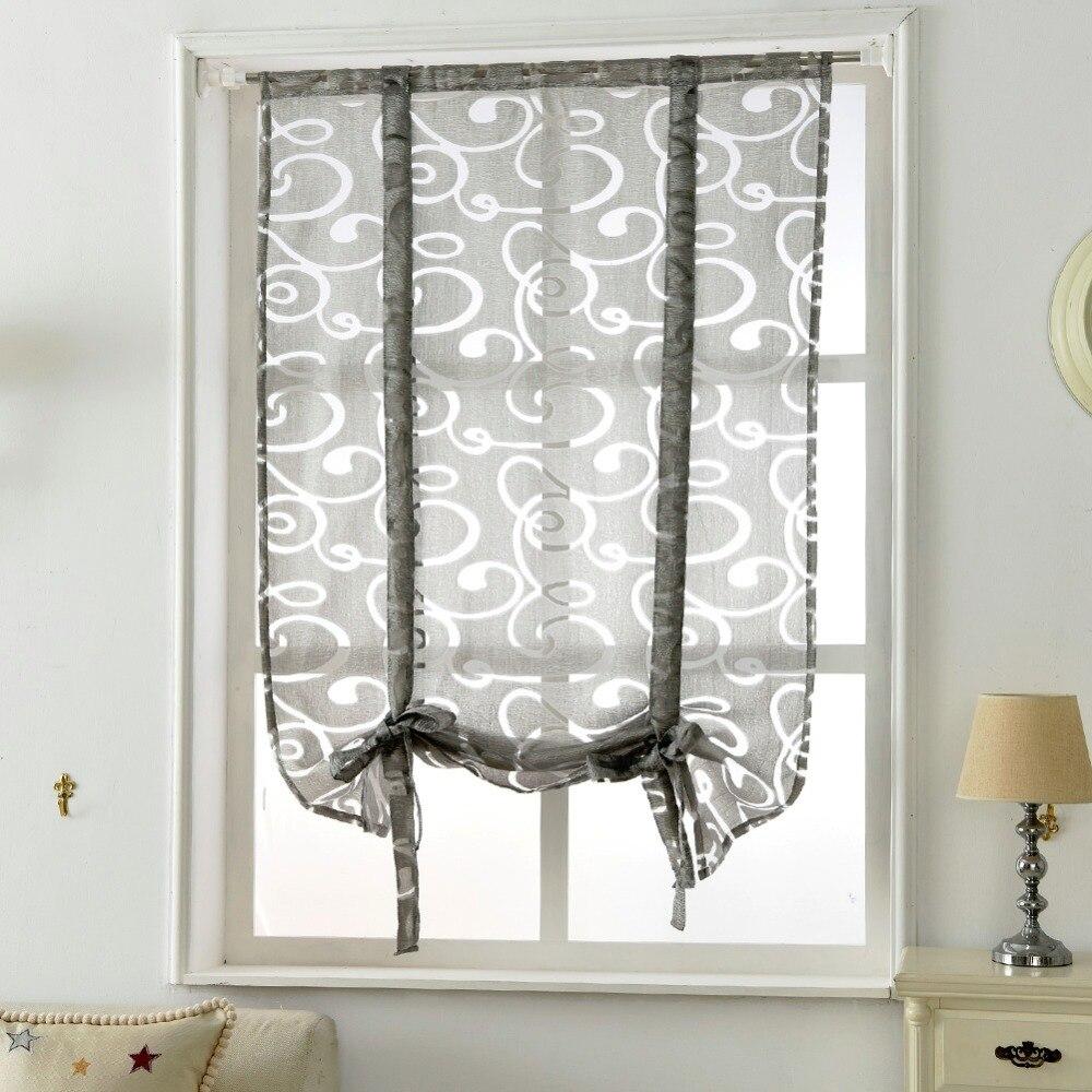 Envío libre cocina cortina corta persianas jacquard rayas semi Sheer ...