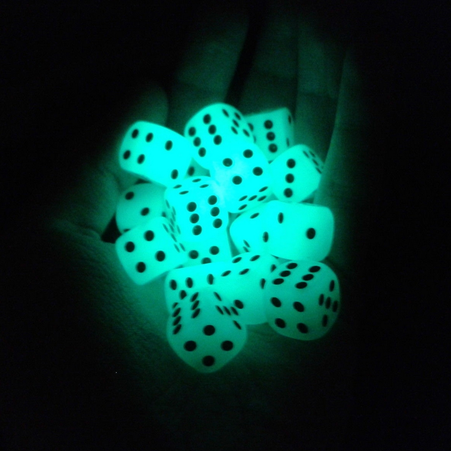 6pcs/lot 14mm 6 Sided Noctilucent Dice Cubes Night Light Luminous Fun Night Bar KTV Entertainment Game Dices Wholesale(China)