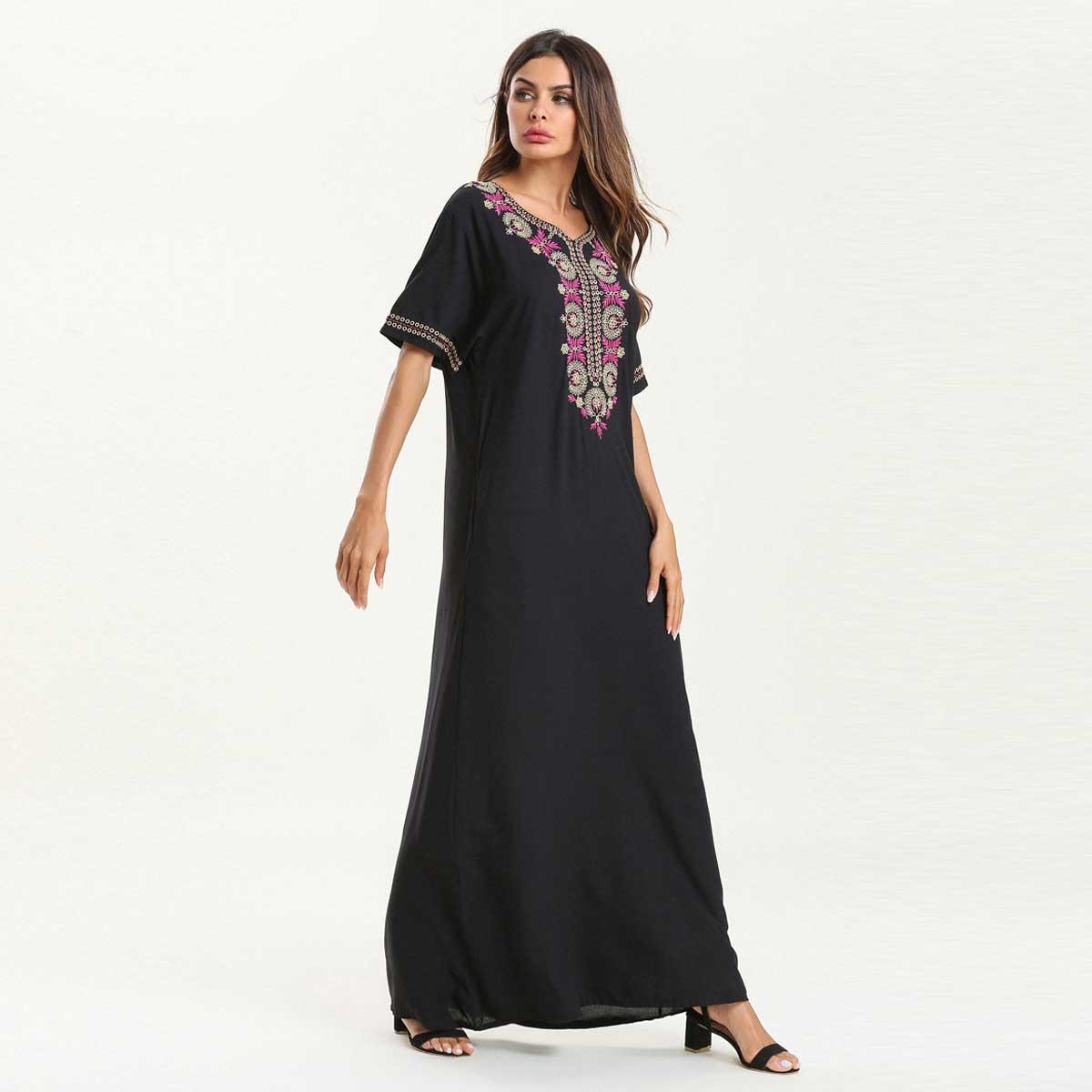 Women Summer Maxi Dress Short Sleeve Embroidery Ethnic Muslim Abaya Dubai Kaftan Islamic Arabic Ramadan Robe Fashion VKDR1524-in Islamic Clothing from Novelty & Special Use on Aliexpress.com | Alibaba Group